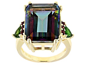 Multi-Color Quartz 18k Yellow Gold Over Sterling Silver Ring 13.45ctw