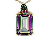 Multi-Color Quartz 18k Yellow Gold Over Sterling Silver Pendant With Chain 12.88ctw
