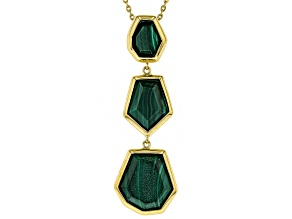Green malachite 18k yellow gold over silver bolo necklace