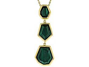 Green malachite 18k yellow gold over silver bolo necklace