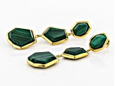 Green malachite 18k yellow gold over sterling silver earrings