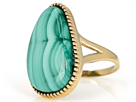 Green malachite 18k yellow gold over sterling silver ring