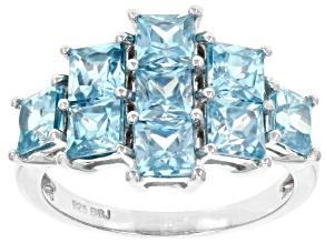 Blue Zircon Rhodium Over Sterling Silver Ring 3.71ctw