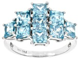 Blue Zircon Rhodium Over Sterling Silver Ring 3.71ctw