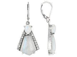 White rainbow moonstone rhodium over silver earrings .76ctw