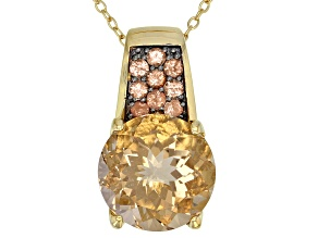Champagne quartz  18k gold over silver pendant with chain 6.21ctw