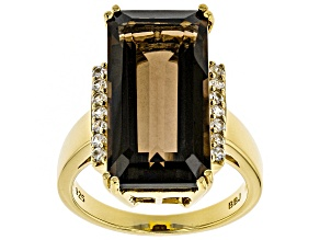 Brown Smoky Quartz 18k Yellow Gold Over Sterling Silver Ring 8.87ctw
