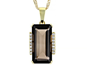 Brown Smoky Quartz 18k Yellow Gold Over Sterling Silver Pendant With Chain 8.87ctw