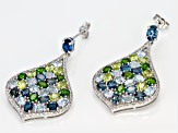 Blue topaz rhodium over silver earrings 12.35ctw
