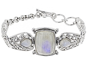 Rainbow Moonstone Rhodium Over Sterling Silver Bracelet .45ctw