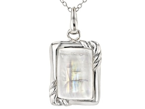 Multi-Color Rainbow Moonstone Rhodium Over Sterling Silver Pendant With Chain