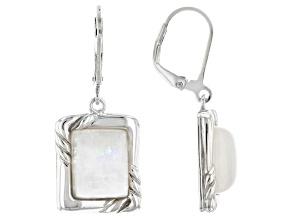 White Rainbow Moonstone Rhodium Over Sterling Silver Dangle Earrings