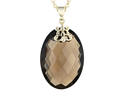 Brown smoky quartz 18k gold over silver pendant with chain 24.48ct