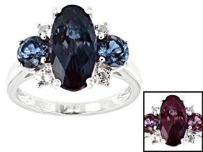 Green Lab created alexandrite rhodium over sterling silver ring 4.62ctw