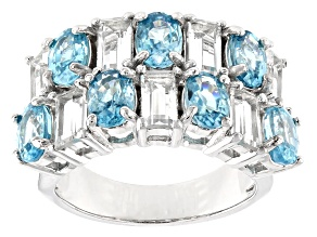 Blue zircon rhodium over sterling silver ring 7.38ctw