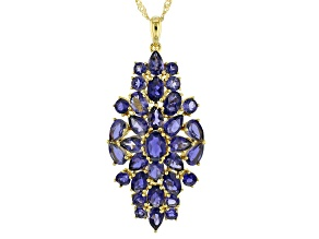 Blue iolite 18k yellow gold over silver pendant with chain 8.00ctw