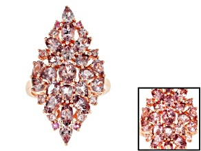 Pink color shift garnet 18k rose gold over silver ring 5.05ctw