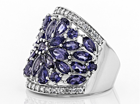 Purple iolite rhodium over sterling silver ring 3.96ctw