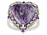 Purple charoite rhodium over sterling silver ring