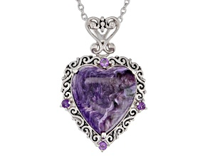 Purple charoite rhodium over sterling silver pendant with chain
