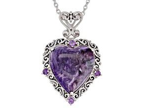 Purple charoite rhodium over sterling silver pendant with chain