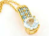 Blue Aquamarine 18k Yellow Gold Over Sterling Silver Pendant With Chain 1.06ctw