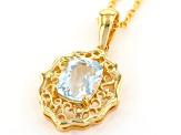 Blue Aquamarine 18k Yellow Gold Over Sterling Silver Pendant With Chain 1.31ct