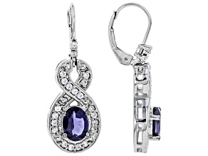 Purple Iolite Rhodium Over Sterling Silver Earrings 2.63ctw