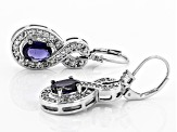 Blue Iolite Rhodium Over Sterling Silver Earrings 2.63ctw