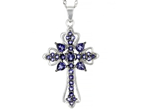 Blue iolite  rhodium over silver cross pendant with chain 2.29ctw