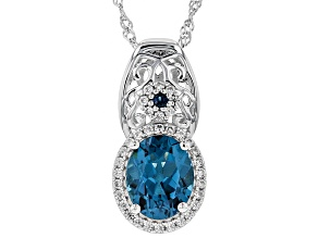 Blue topaz rhodium over silver pendant with chain 3.24ctw