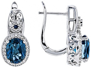 Blue topaz rhodium over silver earrings 4.67ctw