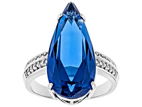 Blue Lab Created Spinel Rhodium Over Sterling Silver Ring 6.93ctw