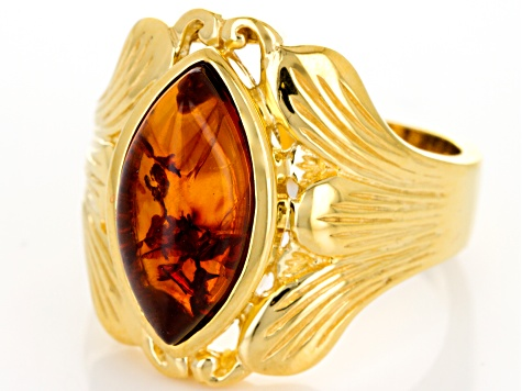 Orange Amber 18k Yellow Gold Over Sterling Silver Ring
