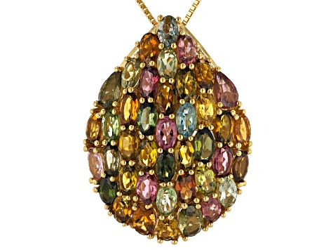 Multi-color tourmaline 18k gold over silver pendant with chain 7.74ctw