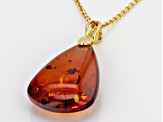Orange Polish Amber 18k yellow gold Sterling Silver Solitaire Pendant With Chain