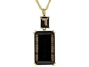 Brown smoky quartz 18k gold over silver pendant with chain 26.19ctw
