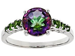 Green Mystic Topaz(R) rhodium over silver ring 2.13ctw