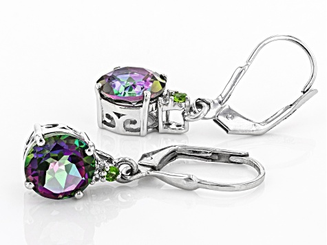 Green Mystic Topaz(R) rhodium over silver earrings 3.89ctw