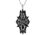 Black spinel rhodium over silver pendant with chain 3.67ctw