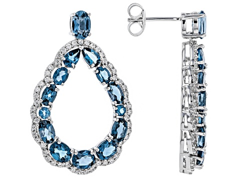 Blue topaz rhodium over silver earrings 8.24ctw
