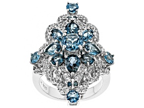Blue topaz rhodium over silver ring 4.97ctw