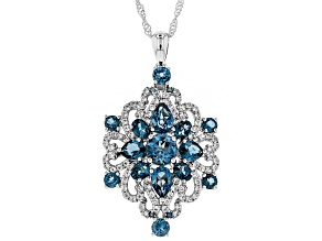 London blue topaz rhodium over silver pendant with chain 4.70ctw