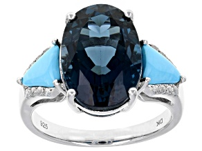 London blue topaz rhodium over silver ring 6.06ctw