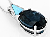 London blue topaz rhodium over silver pendant with chain 6.00ctw