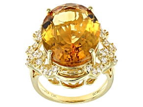 Yellow citrine 18k gold over silver ring 14.81ctw
