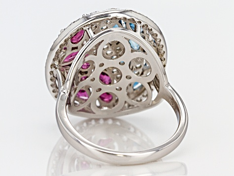 Purple raspberry color rhodolite rhodium over silver ring 3.07ctw