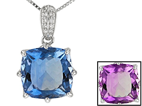 Color Change Fluorite Rhodium Over Sterling Silver Pendant With Chain 12.51ctw