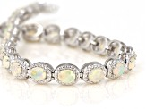 Multicolor Ethiopian opal rhodium over sterling silver bracelet 4.15ctw