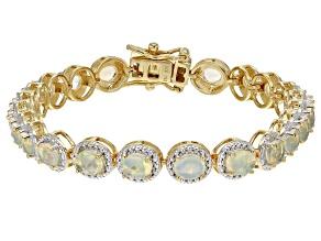 Multicolor Ethiopian Opal 18k Yellow Gold Over Sterling Silver Bracelet 4.05ctw
